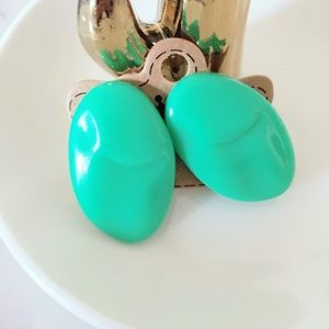 Green Plastic Vintage Earrings Clip On